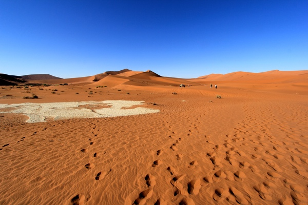 Door de prachtig roodgekleurde duinen naar de Daed Vlei