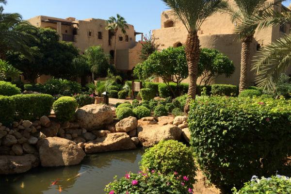 De prachtige tuin van het Mövenpick Resort & Spa Dead Sea