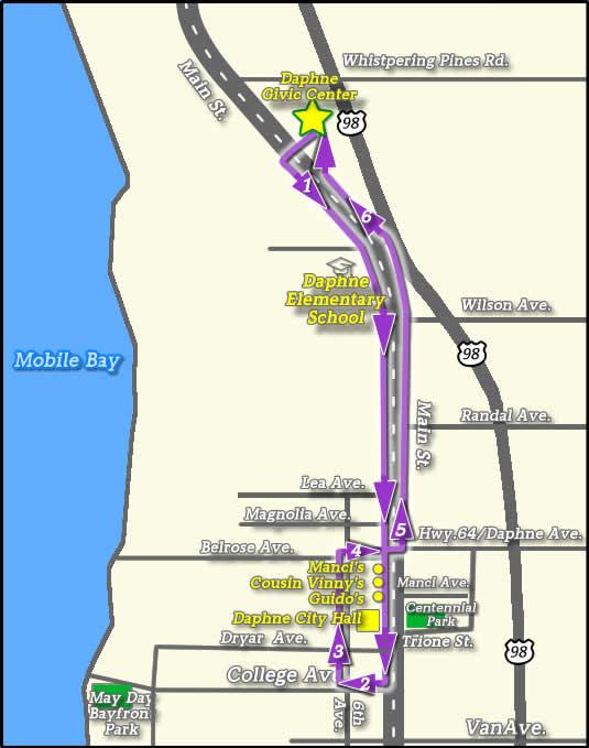 Mardi Gras Parade Routes : mardi, parade, routes, Daphne, Mardi, Printable, Parade, Schedule, Route, Baldwin, County's, Eastern, Shore