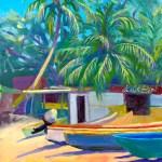 """""""Fishermans' Beach"""", oil, 9″ x 12″ by Daphne Wynne Nixon"""