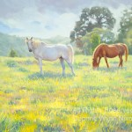 """""""Rufus, the White Stallion, and Buddy"""" oil, by Daphne Wynne Nixon"""