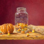 %22Canning Candy Corn%22 by D. Wynne Nixon, oil on board, 11%22 x 14%22