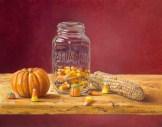 """""""Canning Candy Corn"""" 11"""" x 14"""", oil on board by Daphne Wynne Nixon"""