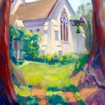 """""""St. Mark's Anglican Church in the Blue Mountains"""", oil, by Daphne Wynne Nixon"""