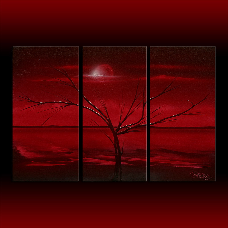 red original abstract painting