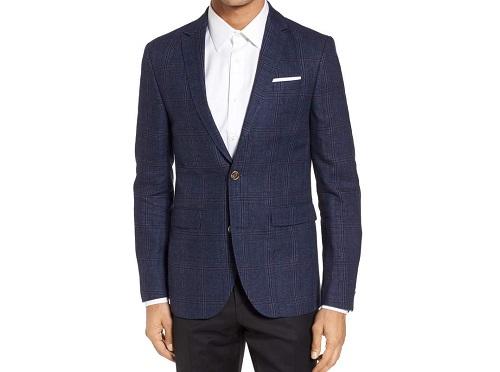 SandTrim Fit Plaid Linen & Wool Sport Coat