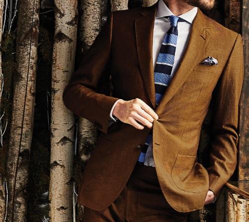 Black Lapel Tobacco Linen Suit