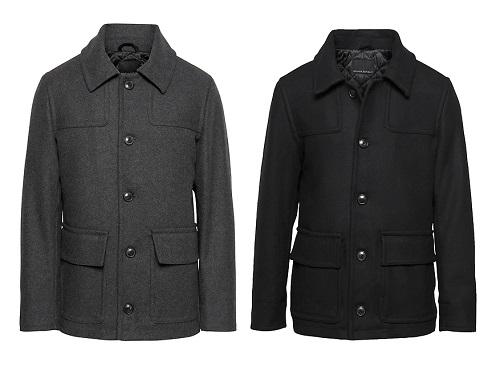 BR Italian Melton Wool-Blend Two-Pocket Coat