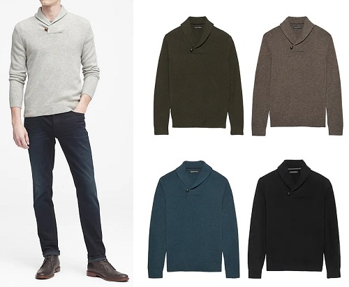 Italian Merino WoolShawl-Collar Sweater