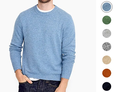 J. Crew Rugged Merino Wool/Nylon Heather Crewneck Sweater