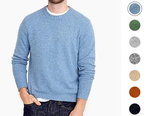J. Crew Rugged Merino Wool/Nylon Heather Crewneck Sweater