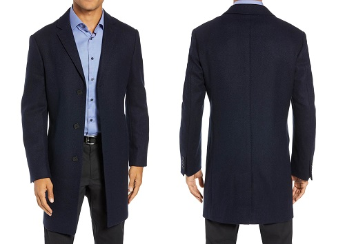 John W. Nordstrom Mason Herringbone Wool & Cashmere Overcoat
