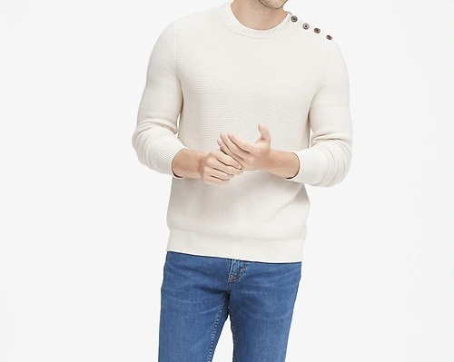 BR Supima Cotton Button-Shoulder Sweater