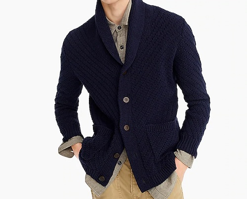 J. Crew Diagonal-Stitch Rope Cotton Shawl-Collar Cardigan