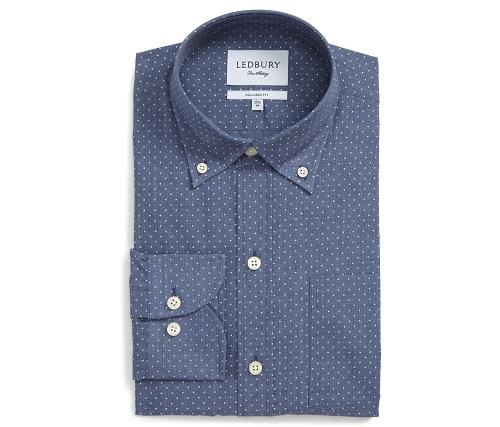 LedburyJasper Tailored Fit Dot Dress Shirt