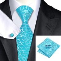Tie Hanky Cufflink sets|Cyan Blue Tie Hanky Cufflink Sets
