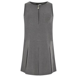 Flower Embroidery Pinafore in Grey