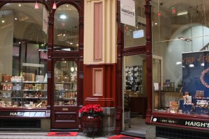 outside the Haigh's Chocolates Store in Melbourne