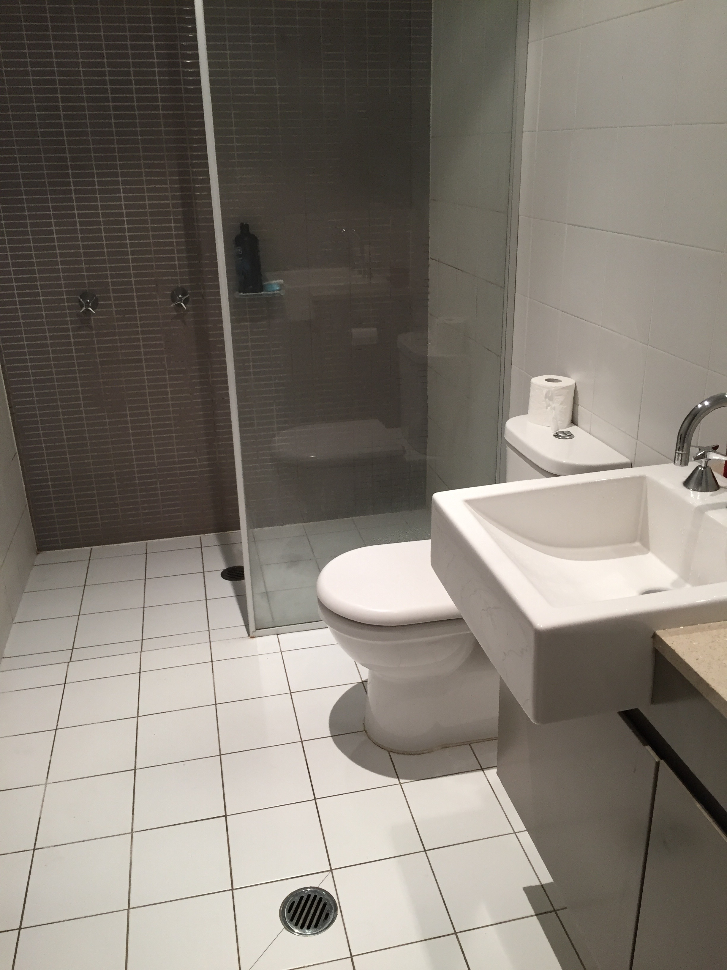 walk-in shower, toilet and sink that make up the ensuite in an Airbnb rental in Sydney