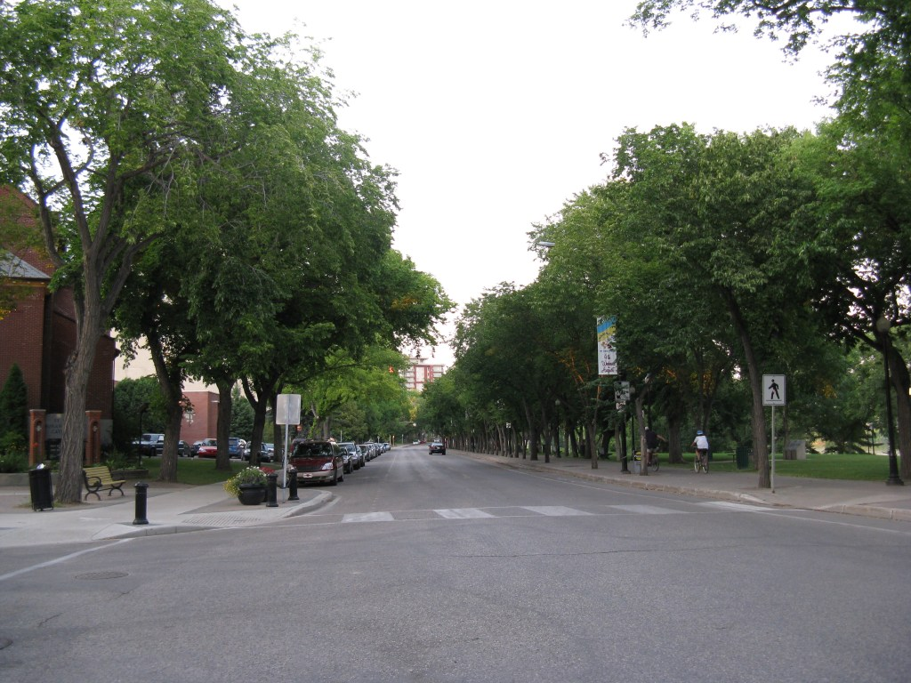 Scenic Street View in Downtown Saskatoon along the river