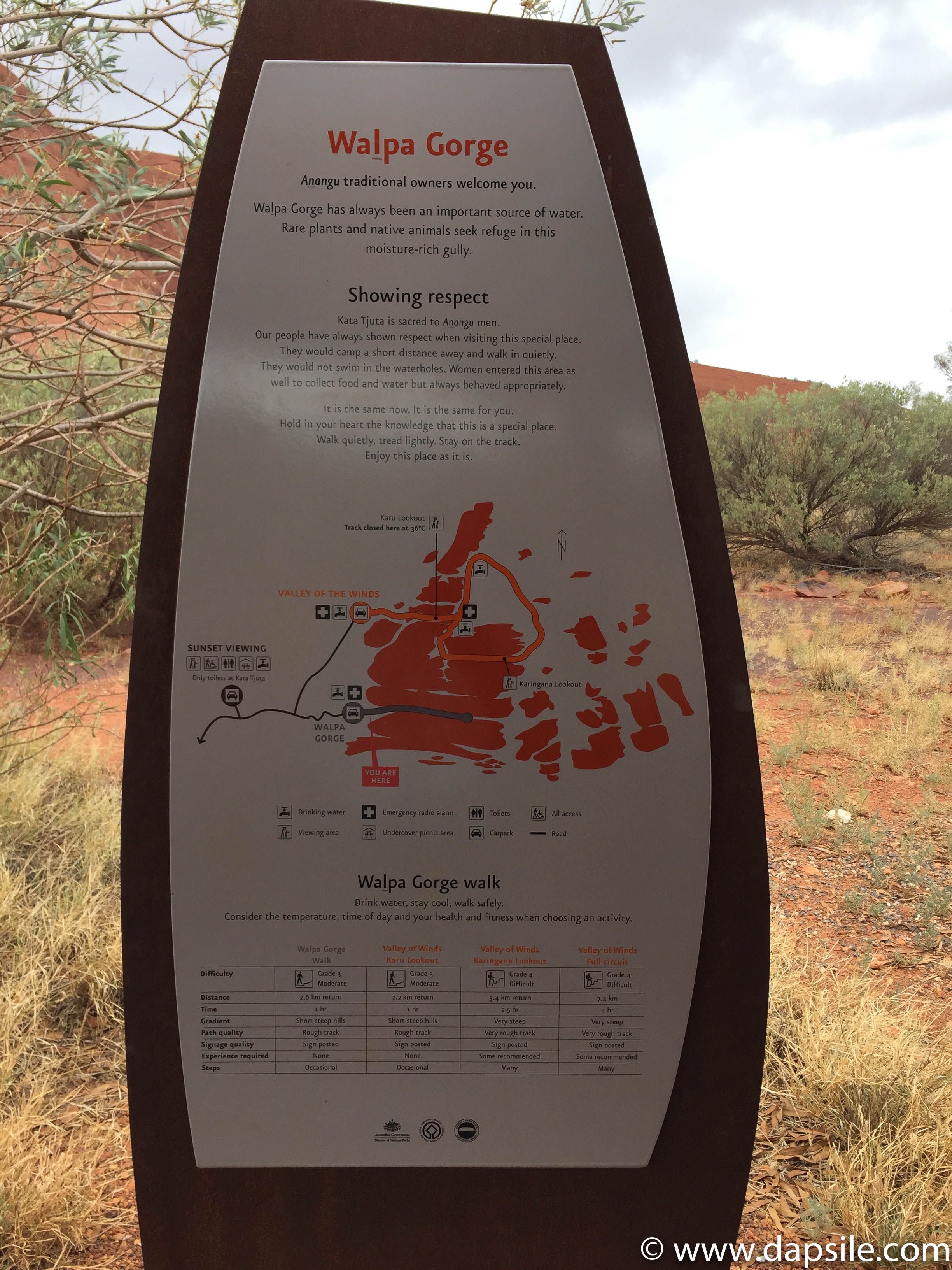 Walpa Gorge sign tour from Alice Springs to Uluru