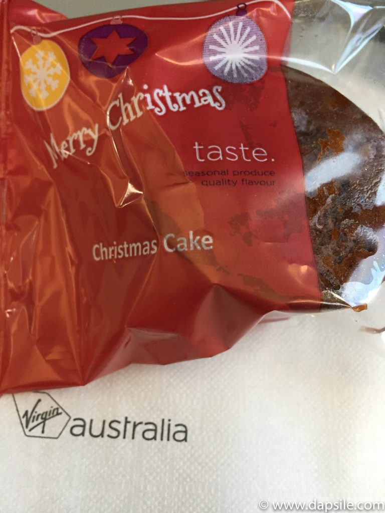 Christmas cake from Virgin Australia while visiting the Alice Springs area