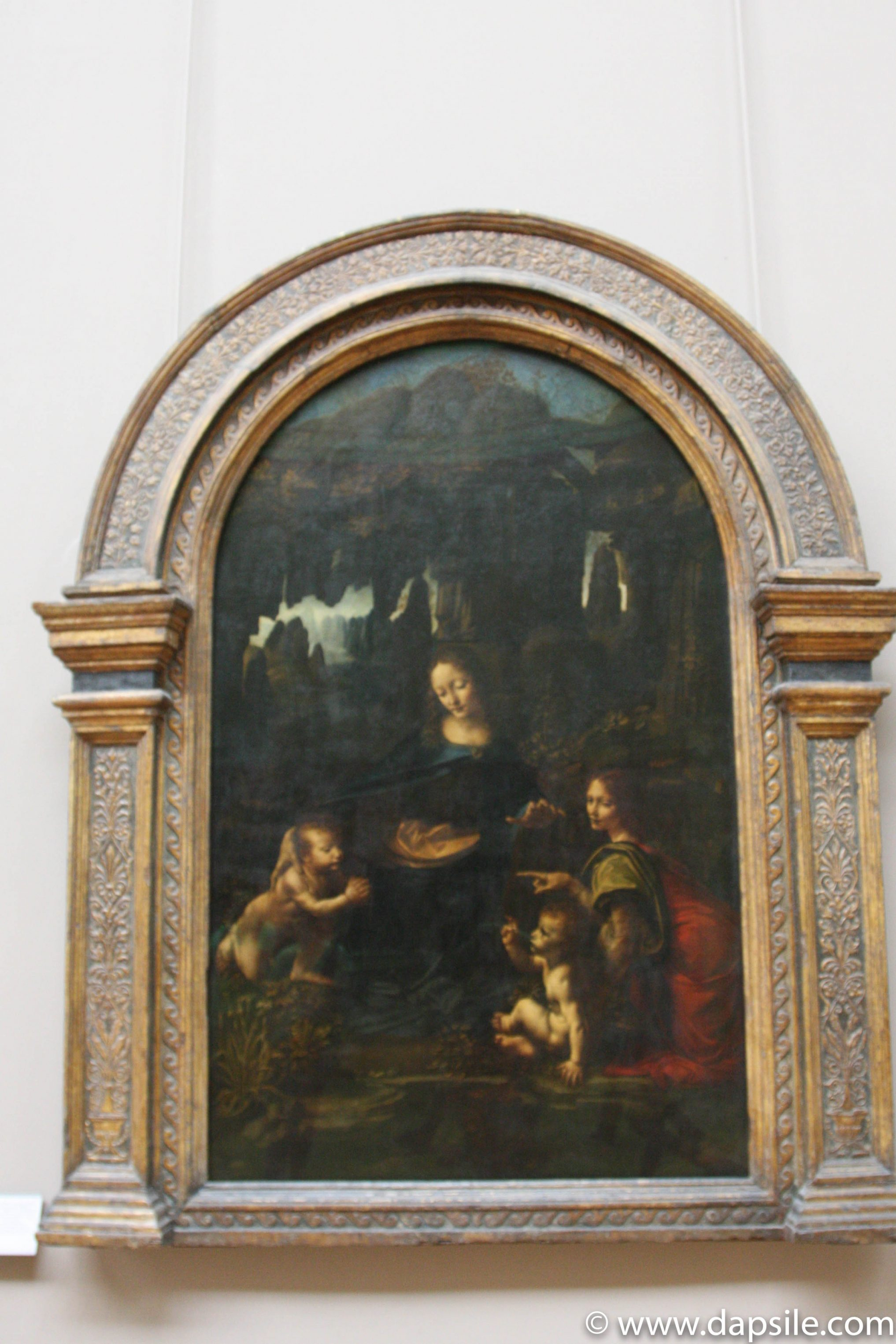The Virgin of the Rocks painting by Leonardo Da Vinci at the Louvre in Paris