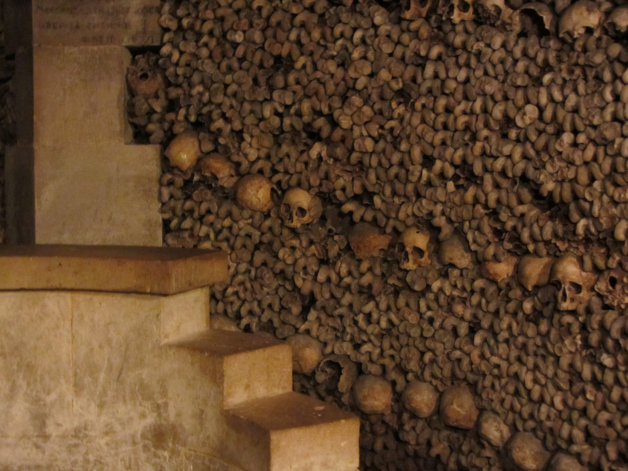Wall of Bones in the Catacombs in Paris
