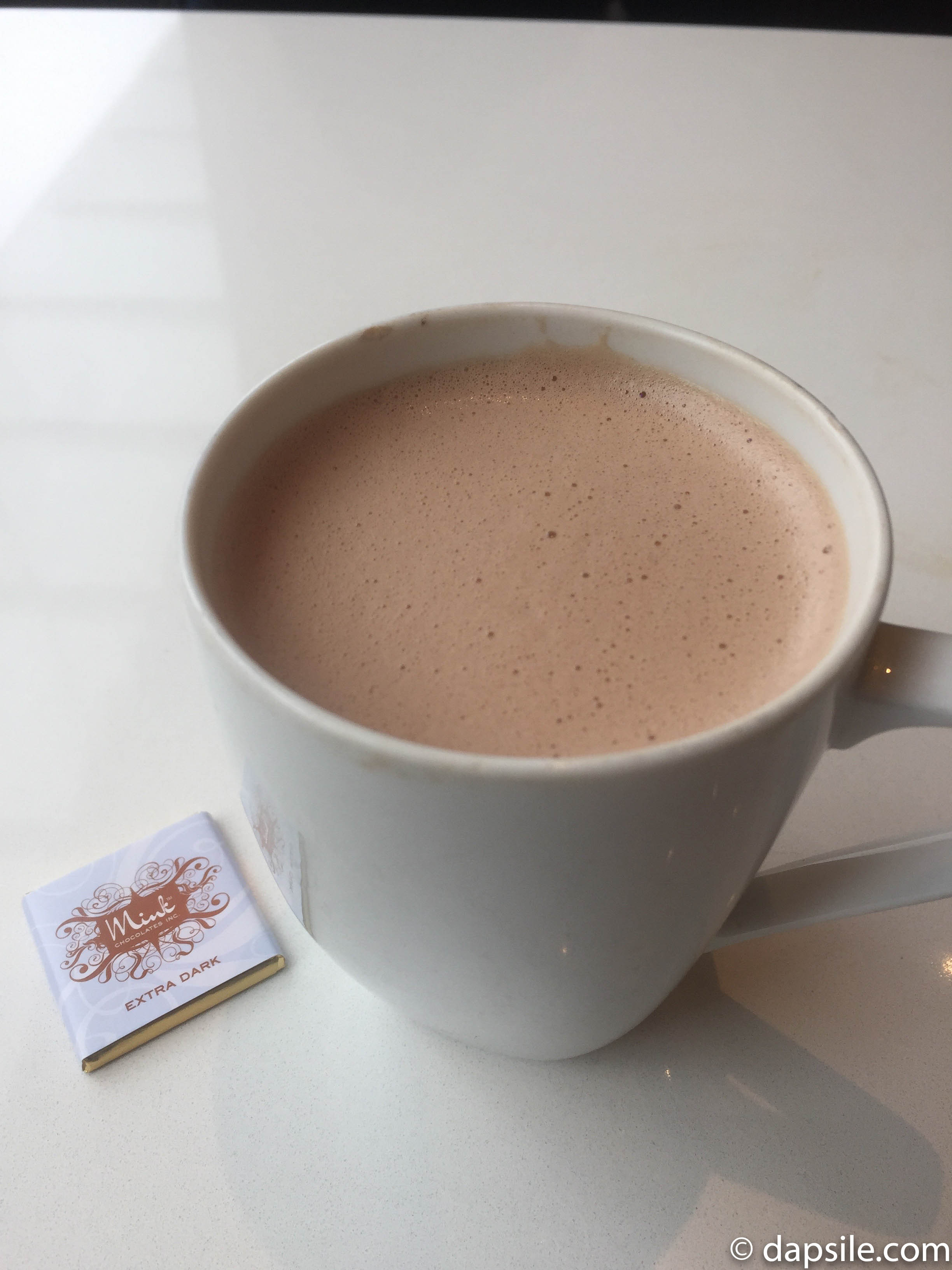 Mink Chocolates Dark Hot Chocolate with Small Dark Chocolate Square