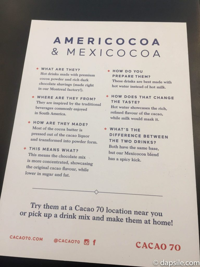 Americocoa & Mexicocoa Pamphlet Description