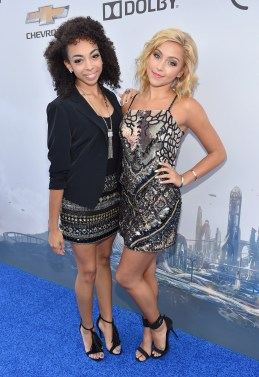 """ANAHEIM, CA - MAY 09: Summer Reign (L) and Millie Thrasher of the musical group Sweet Suspense attend the world premiere of Disney's """"Tomorrowland"""" at Disneyland, Anaheim on May 9, 2015 in Anaheim, California. (Photo by Alberto E. Rodriguez/Getty Images for Disney) *** Local Caption *** Summer Reign;Millie Thrasher"""