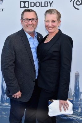 """ANAHEIM, CA - MAY 09: Co-Producer/Visual Effects Producer at Walt Disney Pictures Tom Peitzman (L) and guest attend the world premiere of Disney's """"Tomorrowland"""" at Disneyland, Anaheim on May 9, 2015 in Anaheim, California. (Photo by Alberto E. Rodriguez/Getty Images for Disney) *** Local Caption *** Tom Peitzman"""