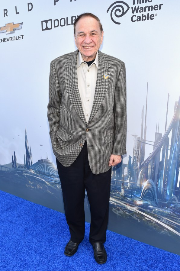 "ANAHEIM, CA - MAY 09: Songwriter Richard M. Sherman attends the world premiere of Disney's ""Tomorrowland"" at Disneyland, Anaheim on May 9, 2015 in Anaheim, California. (Photo by Alberto E. Rodriguez/Getty Images for Disney) *** Local Caption *** Richard M. Sherman"
