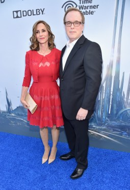 """ANAHEIM, CA - MAY 09: Director/writer/producer Brad Bird (L) and editor Elizabeth Canney attend the world premiere of Disney's """"Tomorrowland"""" at Disneyland, Anaheim on May 9, 2015 in Anaheim, California. (Photo by Alberto E. Rodriguez/Getty Images for Disney) *** Local Caption *** Brad Bird;Elizabeth Canney"""