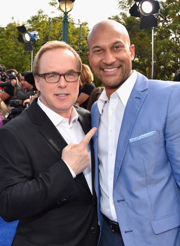 "ANAHEIM, CA - MAY 09: Director/producer/writer Brad Bird (L) and actor Keegan-Michael Key attend the world premiere of Disney's ""Tomorrowland"" at Disneyland, Anaheim on May 9, 2015 in Anaheim, California. (Photo by Alberto E. Rodriguez/Getty Images for Disney) *** Local Caption *** Keegan-Michael Key;Brad Bird"