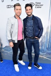 """ANAHEIM, CA - MAY 09: Singer Lance Bass (L) and artist Michael Turchin attend the world premiere of Disney's """"Tomorrowland"""" at Disneyland, Anaheim on May 9, 2015 in Anaheim, California. (Photo by Alberto E. Rodriguez/Getty Images for Disney) *** Local Caption *** Lance Bass;Michael Turchin"""