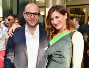 """ANAHEIM, CA - MAY 09: Writer Damon Lindelof (L) and actress Kathryn Hahn attend the world premiere of Disney's """"Tomorrowland"""" at Disneyland, Anaheim on May 9, 2015 in Anaheim, California. (Photo by Alberto E. Rodriguez/Getty Images for Disney) *** Local Caption *** Damon Lindelof;Kathryn Hahn"""