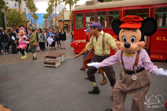 Minnie Mouse Joins Mickey Mouse in Red Car Trolley News Boys-27