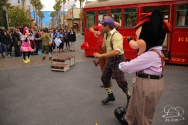 Minnie Mouse Joins Mickey Mouse in Red Car Trolley News Boys-31