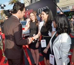 """LOS ANGELES, CA - JUNE 29: Actor Paul Rudd (L) with Micro-Tech Challenge contest winners attend the world premiere of Marvel's """"Ant-Man"""" at The Dolby Theatre on June 29, 2015 in Los Angeles, California. (Photo by Charley Gallay/Getty Images) *** Local Caption *** Paul Rudd"""