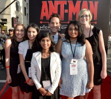 """LOS ANGELES, CA - JUNE 29: Actor Paul Rudd (C) with Micro-Tech Challenge contest winners attend the world premiere of Marvel's """"Ant-Man"""" at The Dolby Theatre on June 29, 2015 in Los Angeles, California. (Photo by Charley Gallay/Getty Images) *** Local Caption *** Paul Rudd"""
