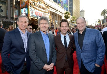 """LOS ANGELES, CA - JUNE 29: (L-R) The Walt Disney Company Chairman and CEO, Bob Iger, Chairman, The Walt Disney Studios, Alan Horn, actor Paul Rudd and producer Kevin Feige attend the world premiere of Marvel's """"Ant-Man"""" at The Dolby Theatre on June 29, 2015 in Los Angeles, California. (Photo by Charley Gallay/Getty Images) *** Local Caption *** Bob Iger;Alan Horn;Paul Rudd;Kevin Feige"""