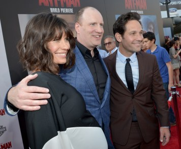 "LOS ANGELES, CA - JUNE 29: (L-R) Actress Evangeline Lilly, producer Kevin Feige and actor Paul Rudd attend the world premiere of Marvel's ""Ant-Man"" at The Dolby Theatre on June 29, 2015 in Los Angeles, California. (Photo by Charley Gallay/Getty Images) *** Local Caption *** Evangeline Lilly;Kevin Feige;Paul Rudd"