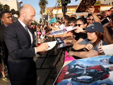 "LOS ANGELES, CA - JUNE 29: Actor Corey Stoll signs autographs for fans at the world premiere of Marvel's ""Ant-Man"" at The Dolby Theatre on June 29, 2015 in Los Angeles, California. (Photo by Jesse Grant/Getty Images for Disney) *** Local Caption *** Corey Stoll"