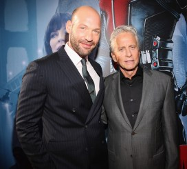 """LOS ANGELES, CA - JUNE 29: Actors Corey Stoll (L) and Michael Douglas attend the world premiere of Marvel's """"Ant-Man"""" at The Dolby Theatre on June 29, 2015 in Los Angeles, California. (Photo by Jesse Grant/Getty Images for Disney) *** Local Caption *** Corey Stoll;Michael Douglas"""