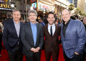 """LOS ANGELES, CA - JUNE 29: (L-R) The Walt Disney Company Chairman and CEO, Bob Iger, Chairman, The Walt Disney Studios, Alan Horn, actor Paul Rudd and producer Kevin Feige attend the world premiere of Marvel's """"Ant-Man"""" at The Dolby Theatre on June 29, 2015 in Los Angeles, California. (Photo by Jesse Grant/Getty Images for Disney) *** Local Caption *** Bob Iger;Alan Horn;Paul Rudd;Kevin Feige"""
