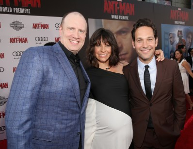 """LOS ANGELES, CA - JUNE 29: (L-R) Producer Kevin Feige and actors Evangeline Lilly and Paul Rudd attend the world premiere of Marvel's """"Ant-Man"""" at The Dolby Theatre on June 29, 2015 in Los Angeles, California. (Photo by Jesse Grant/Getty Images for Disney) *** Local Caption *** Kevin Feige;Evangeline Lilly;Paul Rudd"""