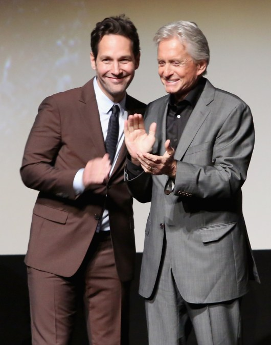 "LOS ANGELES, CA - JUNE 29: Actors Paul Rudd (L) and Michael Douglas onstage during the world premiere of Marvel's ""Ant-Man"" at The Dolby Theatre on June 29, 2015 in Los Angeles, California. (Photo by Jesse Grant/Getty Images for Disney) *** Local Caption *** Paul Rudd;Michael Douglas"