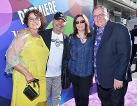 HOLLYWOOD, CA - JUNE 08: (L-R) Nancy Lasseter, actor Billy Crystal, Janice Crystal and executive producer John Lasseter attend the Los Angeles Premiere and Party for Disney•Pixar's INSIDE OUT at El Capitan Theatre on June 8, 2015 in Hollywood, California. (Photo by Alberto E. Rodriguez/Getty Images for Disney) *** Local Caption *** Nancy Lasseter; Billy Crystal; Janice Crystal; John Lasseter