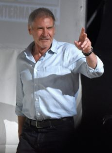 SAN DIEGO, CA - JULY 10: Actor Harrison Ford at the Hall H Panel for `Star Wars: The Force Awakens` during Comic-Con International 2015 at the San Diego Convention Center on July 10, 2015 in San Diego, California. (Photo by Michael Buckner/Getty Images for Disney) *** Local Caption *** Harrison Ford